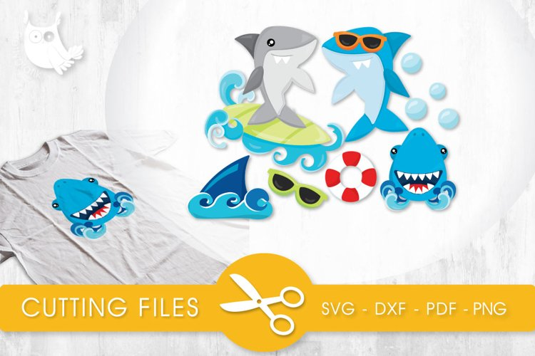 Summer Sharks cutting files svg, dxf, pdf, eps included - cut files for cricut and silhouette - Cutting Files SG example image 1