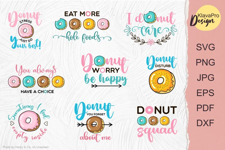 Funny donut quotes bundle - layered SVG design
