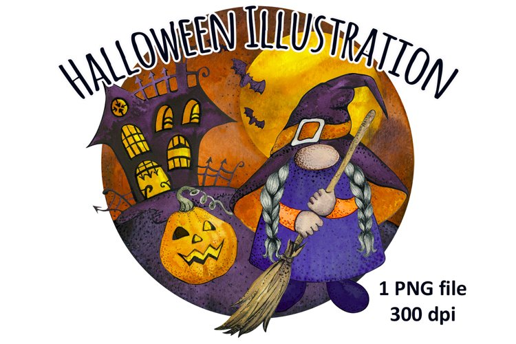 Happy Halloween Haunted House and Gnome Witch Sublimation