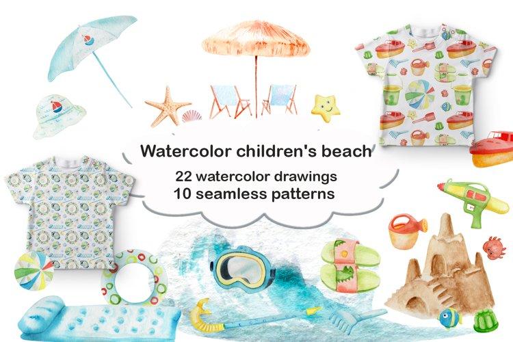 Watercolor children's beach example image 1