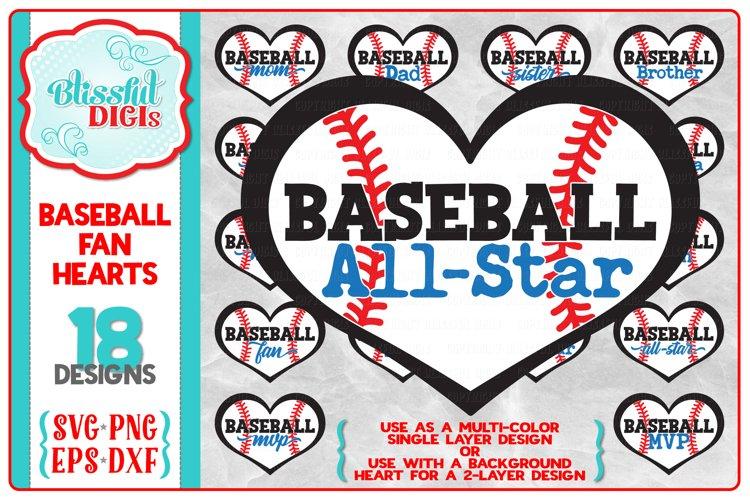 Baseball Fans/Family Hearts Bundle - SVG, EPS, DXF, PNG