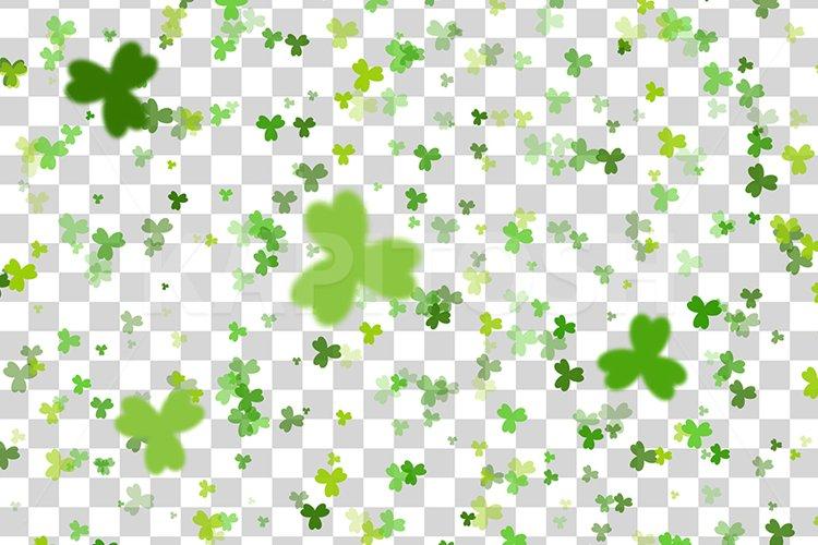 Green clover random size falling St Patricks Day