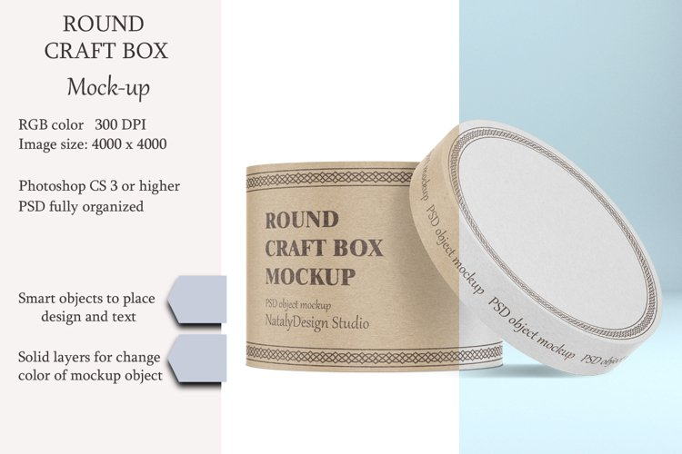 Round craft box mockup. Carton box. example image 1