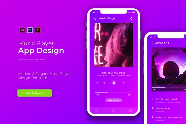 Purple Music Player | App Template example image 1