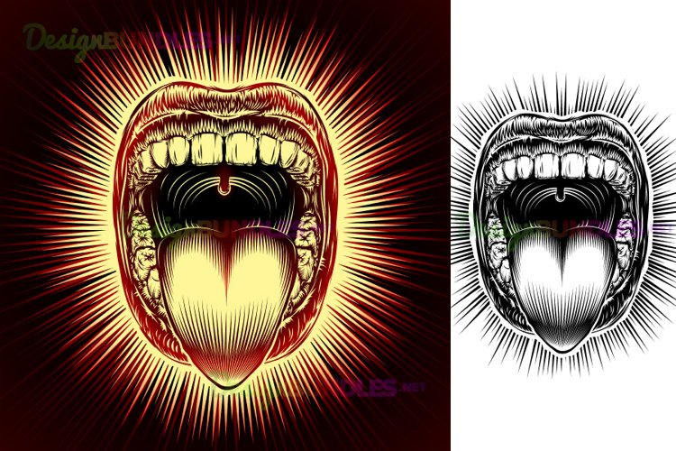 Vector Mouth Open Tongue Scream Vintage Ink Hand Drawing Set