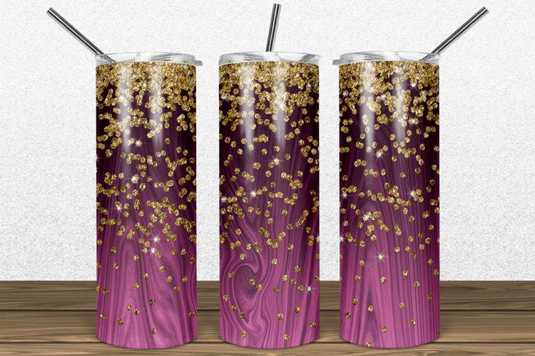 Hot Pink Wood Gold Glitter 2oz Skinny Tumbler Sublimation example image 1