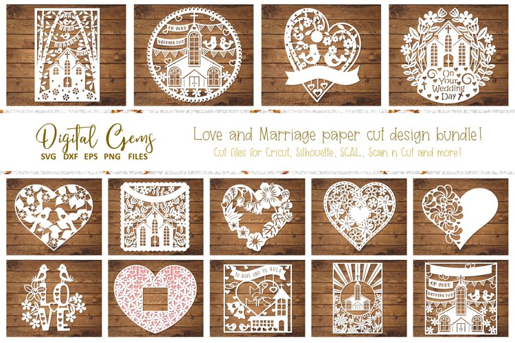 Love and Marriage paper cut designs. SVG / DXF / EPS / PNG