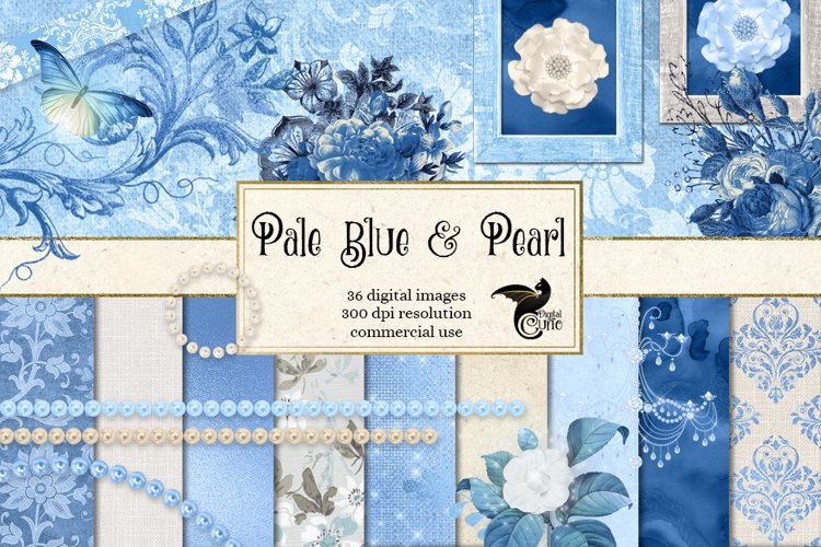 Pale Blue and Pearl Digital Scrapbooking Kit example image 1