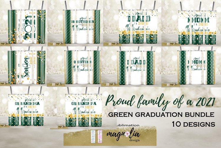 Green Graduation tumbler sublimation bundle class of 2021 example image 1