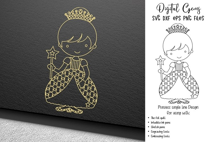 Princess single line sketch file / foil quill / engraving