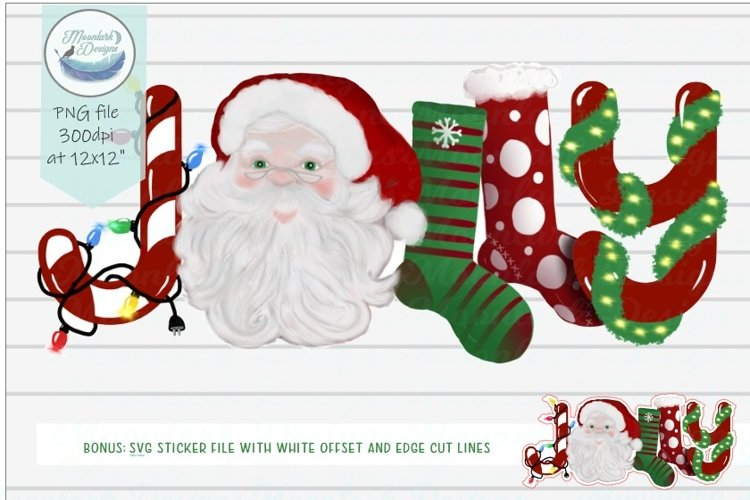 Jolly Hand Lettered Santa Stockings and Lights example image 1