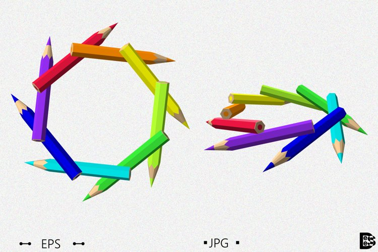 Figure from Color pencils. 3d Vector illustration. example image 1