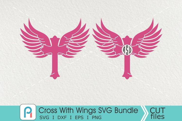 Cross With Wings Monogram Svg, Cross Svg, Cross Clip Art example image 1