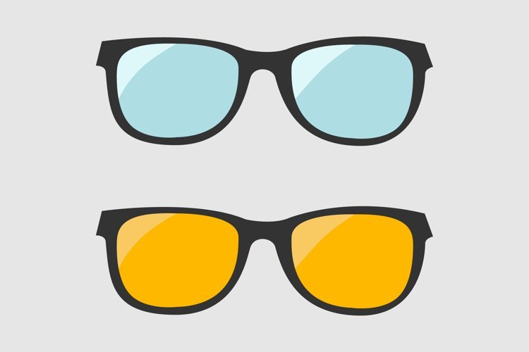 Glasses set. Blue and yellow lenses. Vector illustration example image 1