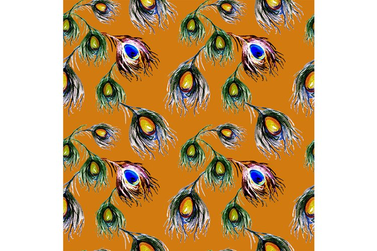 Seamless pattern of colorful peacock feathers . example image 1