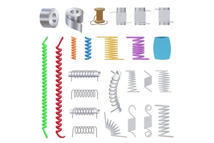 Coil icons set, cartoon style example image 1