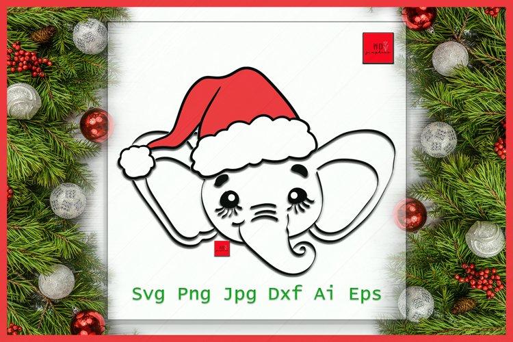 Elephant Santa Hat SVG file, Elephant with Hat svg example image 1