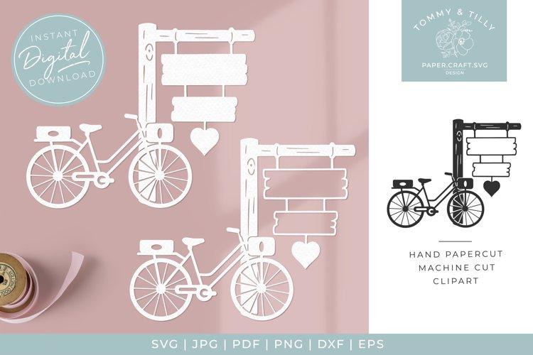Bike & Sign x 2 - SVG Papercut Cutting File example image 1