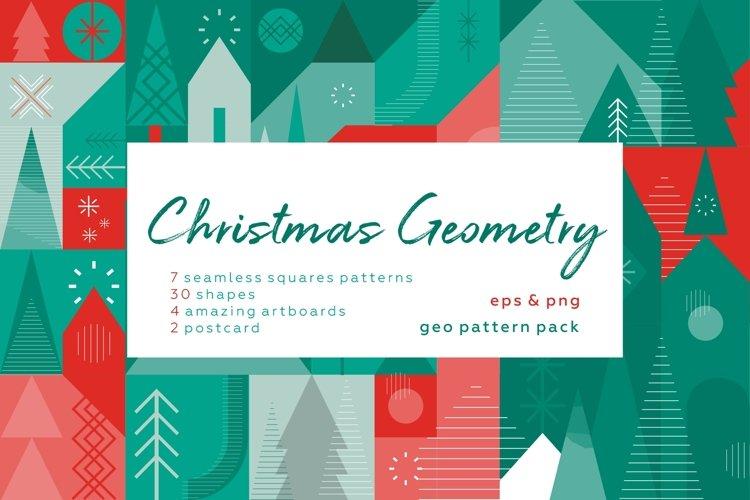 Christmas geometric pattern and postcard set. example image 1