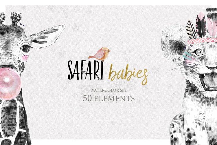 SAFARI BABIES watercolor set example image 1