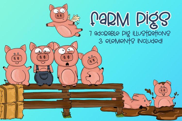 Farm Pigs  Pig Illustrations   Farm Illustrations