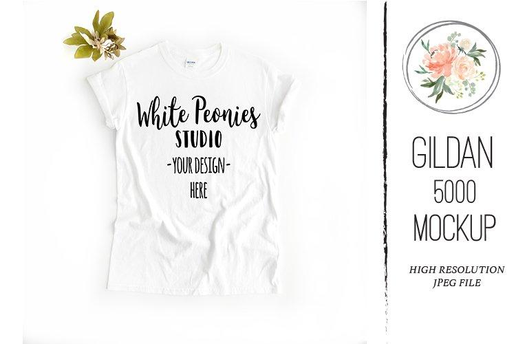 White GILDAN 5000 Shirt Mockup with plant example image 1