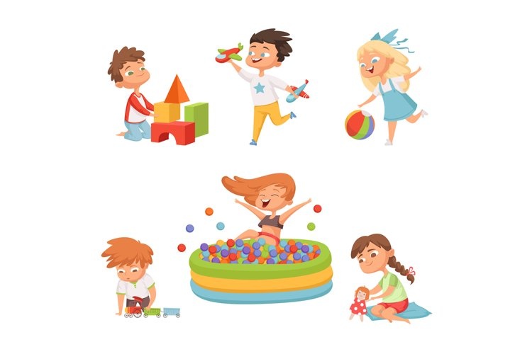 Preschool childrens playing in various toys. Vector illustra example image 1