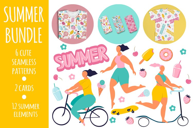 summer cute bundle - patterns, cards, stickers