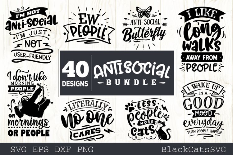 Sassy SVG bundle 40 designs antisocial SVG bundle example image 1