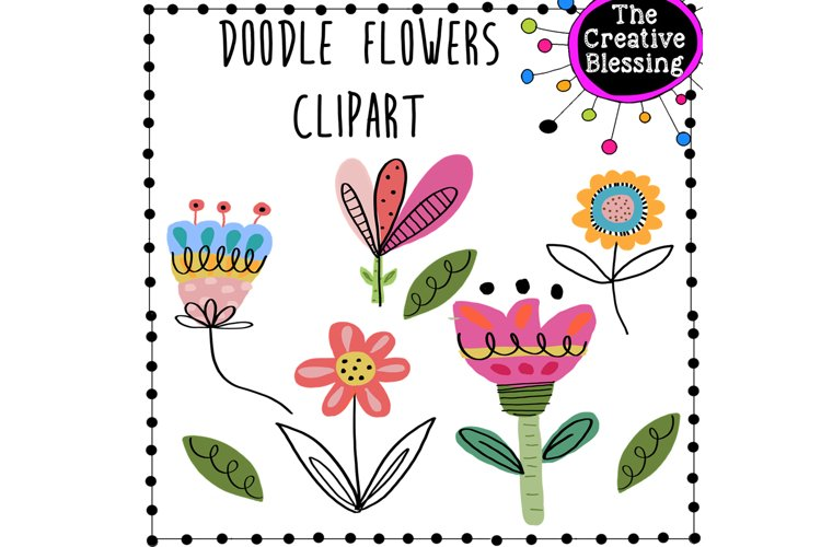 Doodle Flower Clipart example image 1