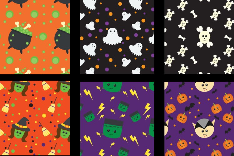 Halloween Seamless Patterns example image 1