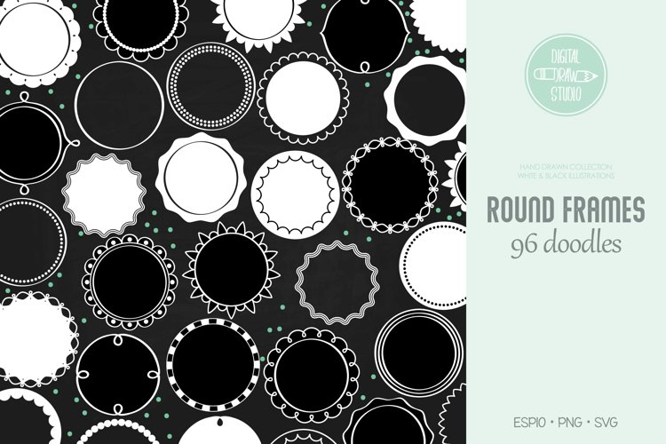 Round Frames White | Hand Drawn Border & Decorative Label example image 1