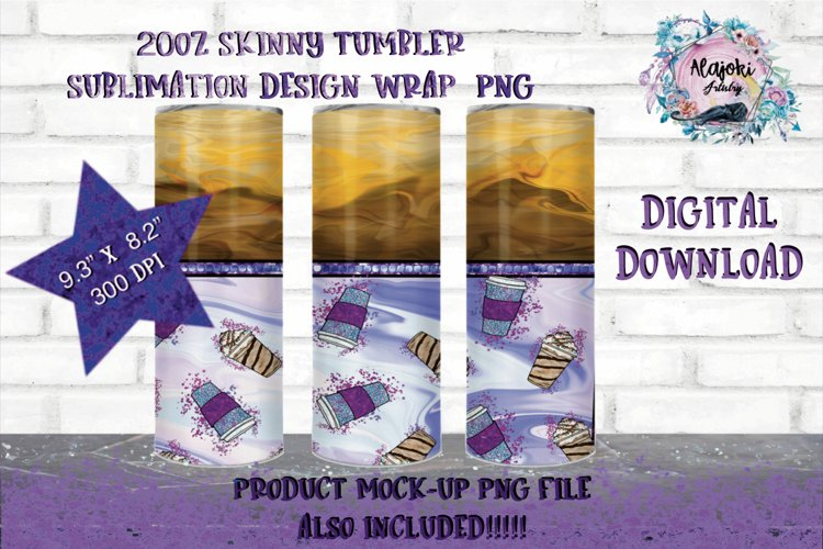 Coffee swirl|Sublimation Design|20oz Skinny Tumbler Wrap example image 1