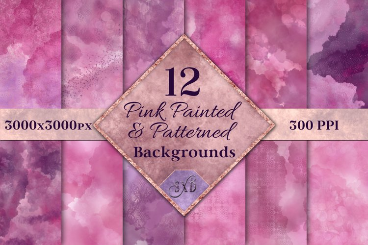 Pink Painted and Patterned Backgrounds - 12 Image Textures example image 1