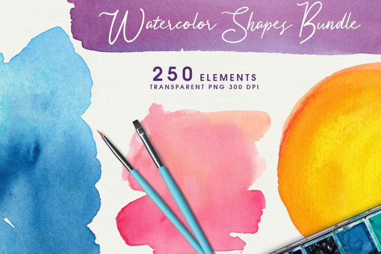 Watercolor Shapes & Textures Big Bundle PNG example image 1