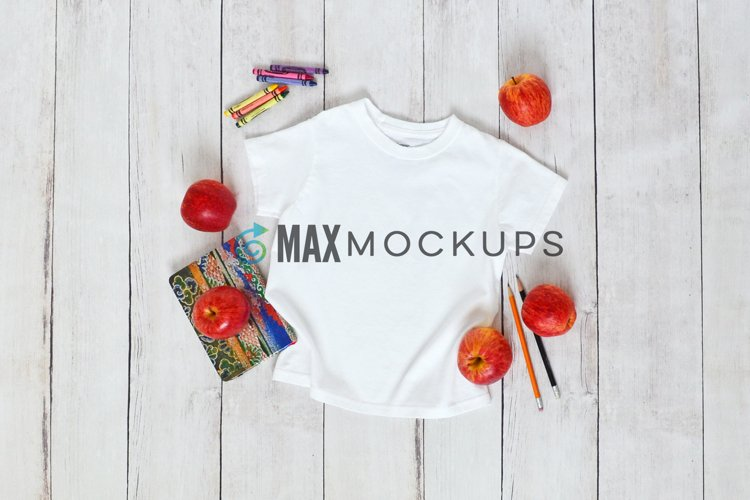 Kids t-shirt mockup, back to school, styled photography