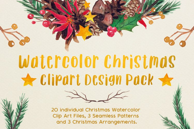 Very Merry Christmas Watercolor Clip Art Pack! example image 1