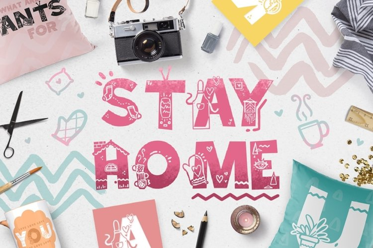 Stay Home - Doodle Font