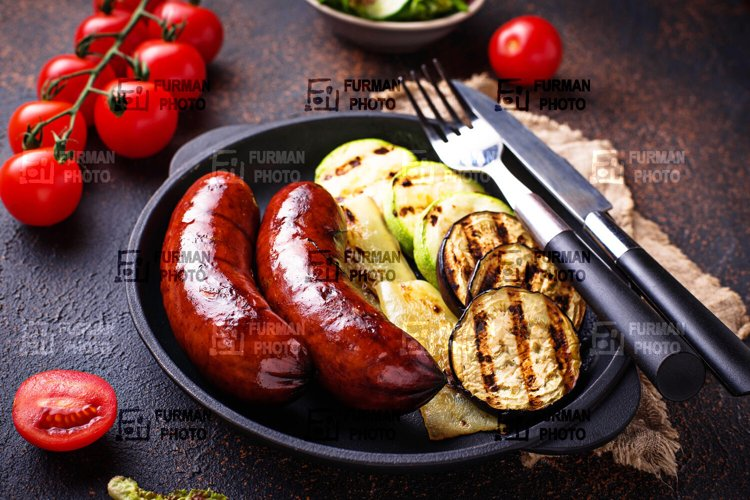 Grilled sausages and vegetables example image 1