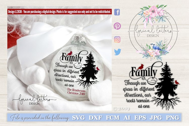 Christmas Family Tree Quote with Cardinal SVG DXF FCM LL263B