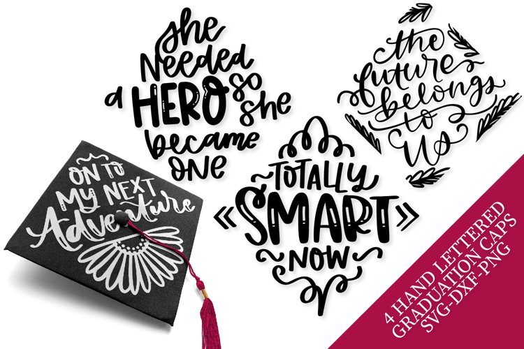 Graduation Cap Designs - 4 Hand Lettered SVG's! example image 1