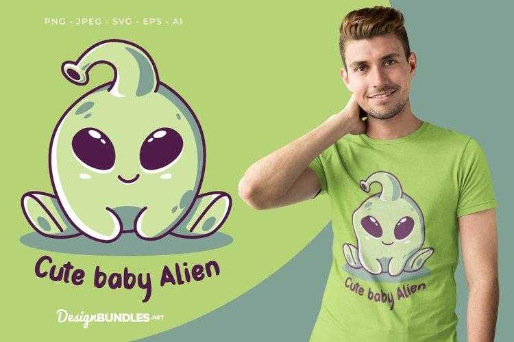Cute Baby Alien Vector Illustration For T-Shirt Design