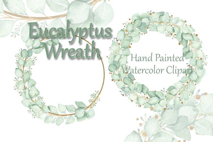 Watercolor Clipart Eucalyptus Wreath