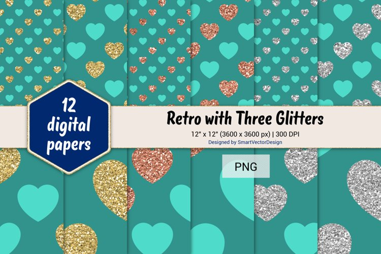 Hearts Retro with Three Glitters Color Combo #50 example image 1