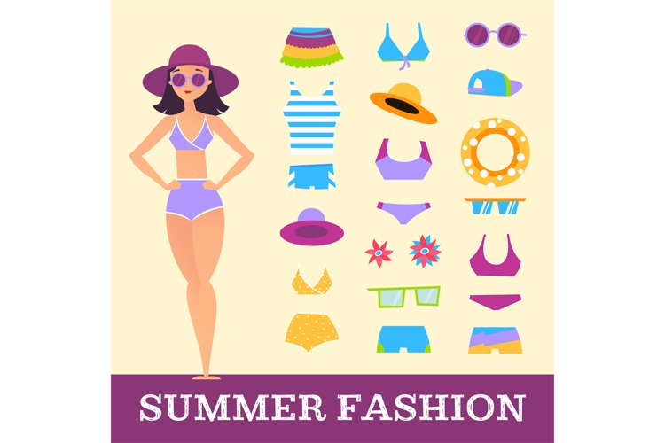 Beach fashion. Girl and miscellaneous clothes accessories. C example image 1