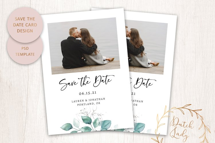 PSD Save The Date Photo Card Template - Single Sided - #1