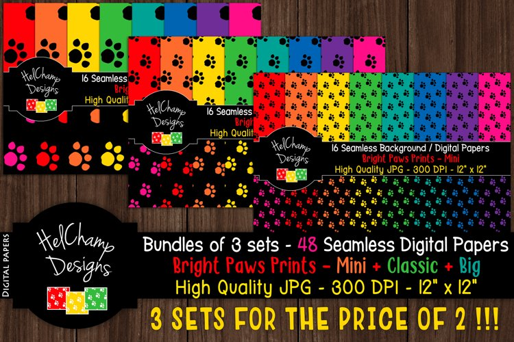 48 seamless Digital Papers - Paws Print Bright serie - DB008