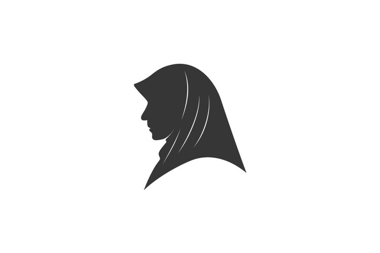 Moslem veil hijab side view silhouette logo design example image 1