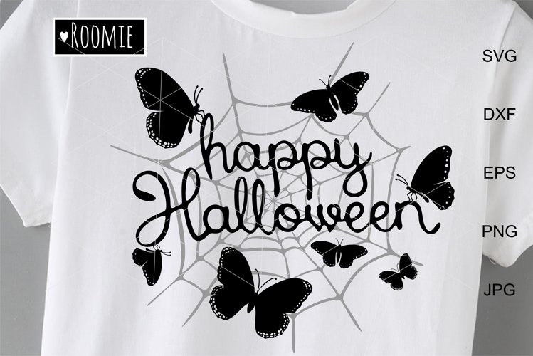 Happy Halloween Svg, Spider Web and Butterfly, Decor diy