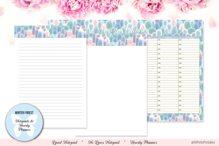 Winter Forest Digital Notepads and Hourly Planner example image 1